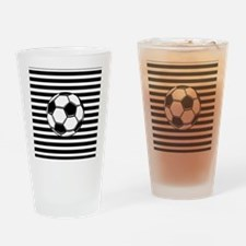 Soccer Ball on Stripes Drinking Glass