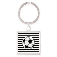 Soccer Ball on Stripes Keychains