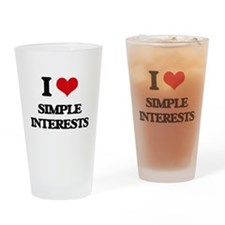I Love Simple Interests Drinking Glass