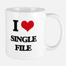 I Love Single File Mugs