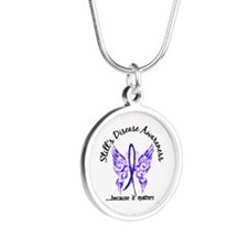 Still's Disease Butterfly 6. Silver Round Necklace