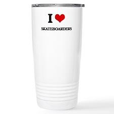 I Love Skateboarders Travel Mug