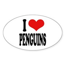 I Love Penguins Oval Decal