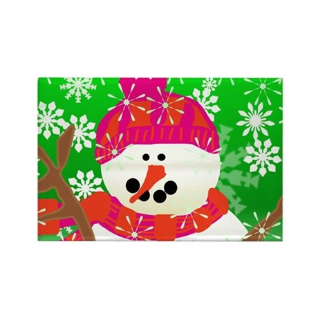 Happy Snowman Rectangle Magnet (10 pack)