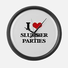 I love Slumber Parties Large Wall Clock