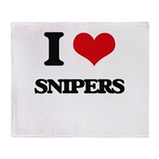 I love Snipers Throw Blanket