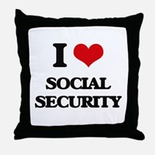 I love Social Security Throw Pillow