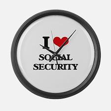 I love Social Security Large Wall Clock