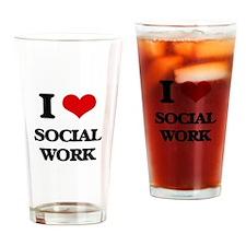 I love Social Work Drinking Glass