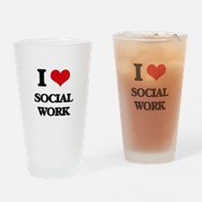 I love Social Work Drinking Glass