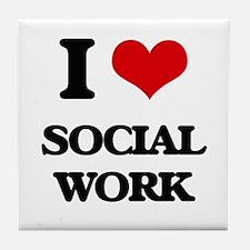 I love Social Work Tile Coaster