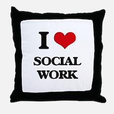 I love Social Work Throw Pillow
