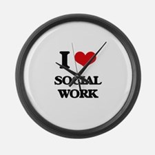 I love Social Work Large Wall Clock