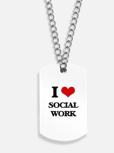 I love Social Work Dog Tags