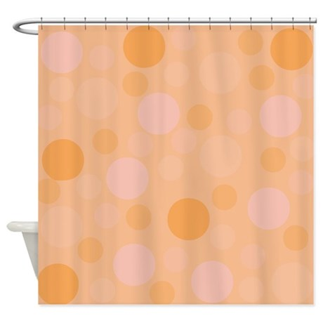Peach Colored Modern Dots Shower Curtain by Admin CP