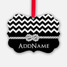 Black and White Chevron with Custom Monogram Ornam