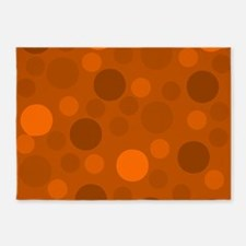 Light Orange Dark and Brown Modern 5'x7'Area Rug