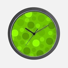 Green Lime Green Light Dark Modern Dots Wall Clock
