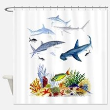 Sharks on Reef Shower Curtain