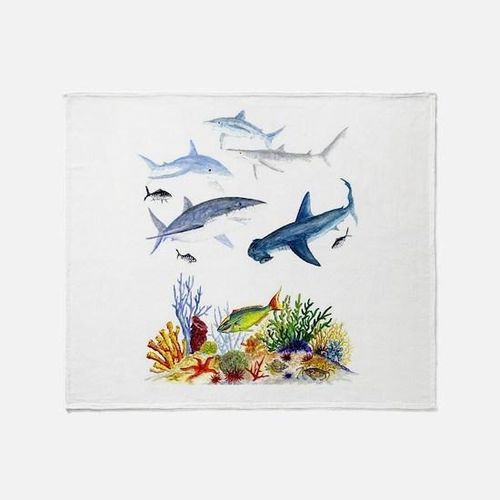 Sharks on Reef Throw Blanket