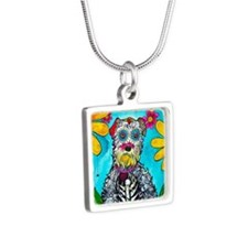 Kasey the Schnauzer Silver Square Necklace