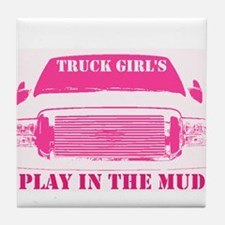 Truck Girls Play In The Mud Tile Coaster