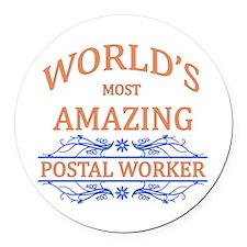 Postal Worker Round Car Magnet