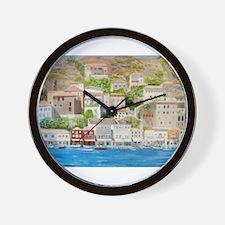 Hillside Village in Greece Wall Clock