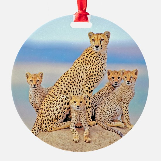 Cheetah Family Round Ornament