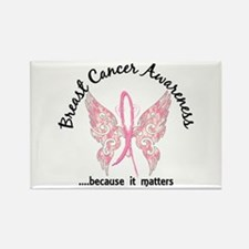 Breast Cancer Butterfly 6.1 Rectangle Magnet