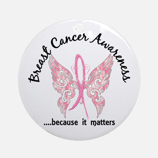 Breast Cancer Butterfly 6.1 Ornament (Round)