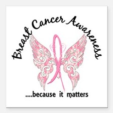 """Breast Cancer Butterfly Square Car Magnet 3"""" x 3"""""""