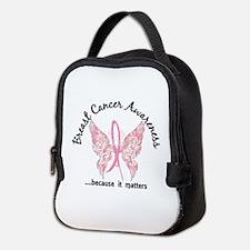 Breast Cancer Butterfly 6.1 Neoprene Lunch Bag