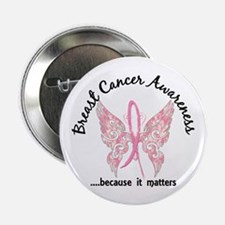 "Breast Cancer Butterfly 6.1 2.25"" Button (10 pack)"