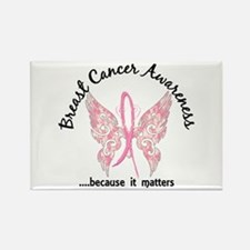 Breast Cancer Butterfly Rectangle Magnet (10 pack)