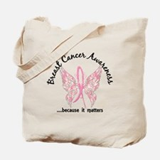 Breast Cancer Butterfly 6.1 Tote Bag