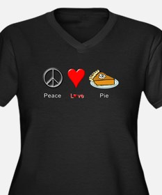 Peace Love P Women's Plus Size V-Neck Dark T-Shirt