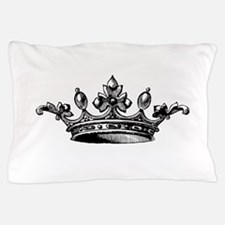 Crown Black White Centered Pillow Case