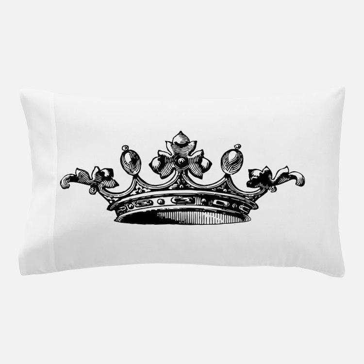Crown Black White Centered Pillow Case