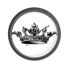 Crown Black White Centered Wall Clock