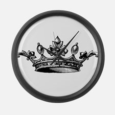 Crown Black White Centered Large Wall Clock