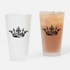 Crown Black White Centered Drinking Glass