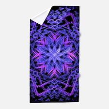 Pretty Purple Fractal Beach Towel