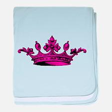 Crown Pink Black baby blanket