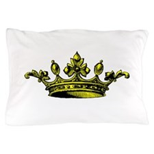 Crown Yellow Black Pillow Case