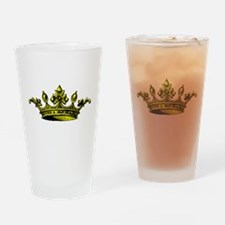 Crown Yellow Black Drinking Glass