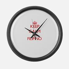 Keep Calm I'm Filipino Large Wall Clock