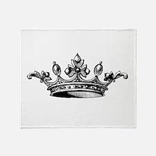 Crown Black White Centered Throw Blanket