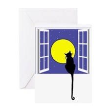 Cat and Moon Greeting Cards