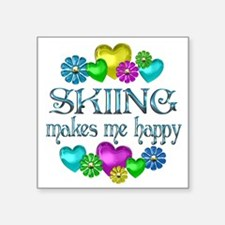"Cute Skiing Square Sticker 3"" x 3"""